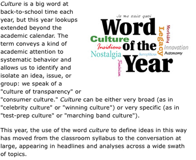 2014: Word of the year is 'culture'