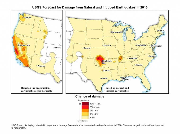 U.S. maps show hazards for human-induced earthquakes