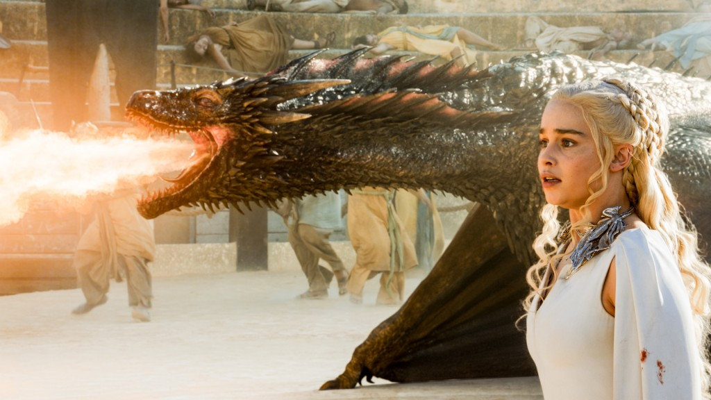 "Clarke's time working on ""Game of Thrones"" varies depending on whether or not she's acting opposite greenscreen sets depicting her dragons. Photo: HBO."