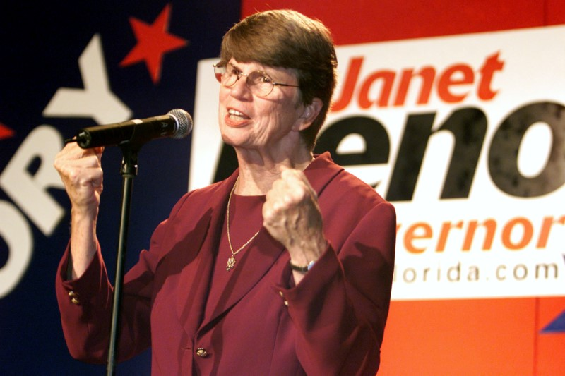 Democratic candidate for Governor of Florida Janet Reno speaks to supporters at the Sheraton Bal Harbor in Miami, Florida September 11, 2002.  REUTERS/Marc Serota