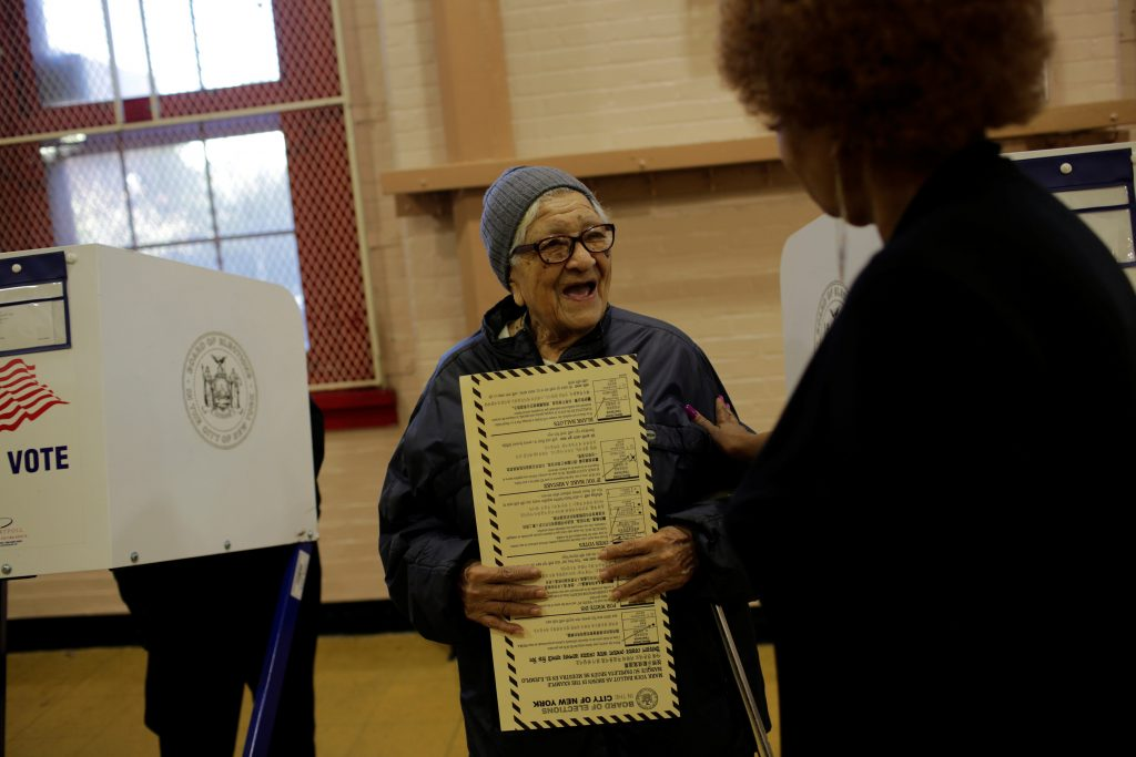 Teresa Lesama, originally from Nicaragua, is seen after casting her ballot during the U.S. presidential election at a polling station in the Bronx Borough of New York, U.S. on November 8, 2016. REUTERS/Saul Martinez
