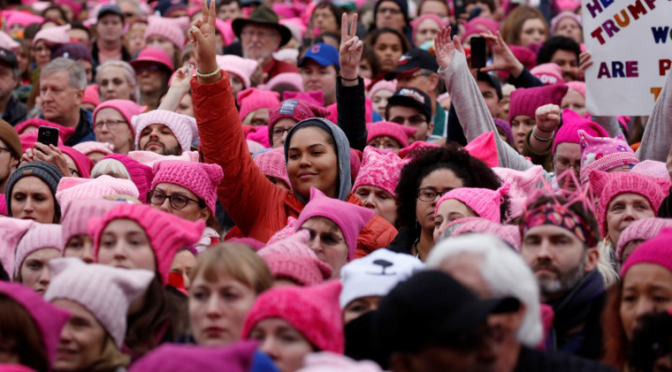 Out in force: Massive women's marches protest Trump